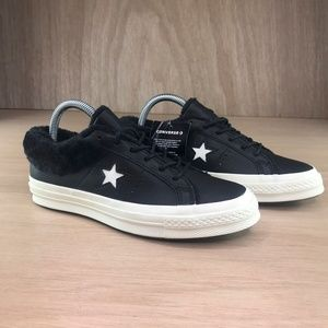 NEW Converse One Star Ox Leather Fur Collar